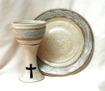photo of spirit pottery Stoneware Communion pottery communion set clay chalice and plate in Spirit glaze made by Debra Ocepek of Ocepek Pottery