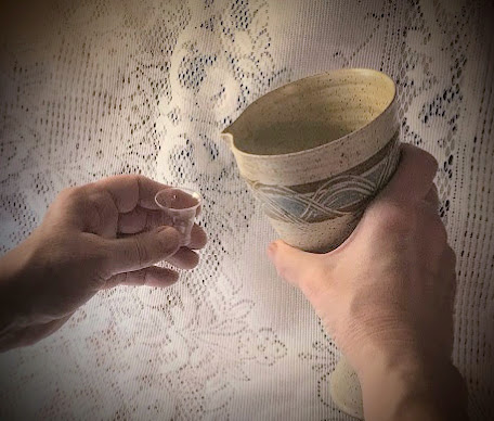 photo of Pouring chalice (tipping chalice)  communion cup in Spirit glaze by Ocepek Pottery