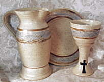 photo of spirit pottery Congregational Size Communion Set by Debra Ocepek of Ocepek Pottery, in Spirit Pattern, formerly Otoe