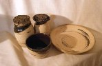 photo of travel communion pottery communionware set made by Debra Ocepek of Ocepek Pottery