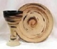 photo of Communion pottery set in Memorial glaze made by Debra Ocepek of Ocepek Pottery